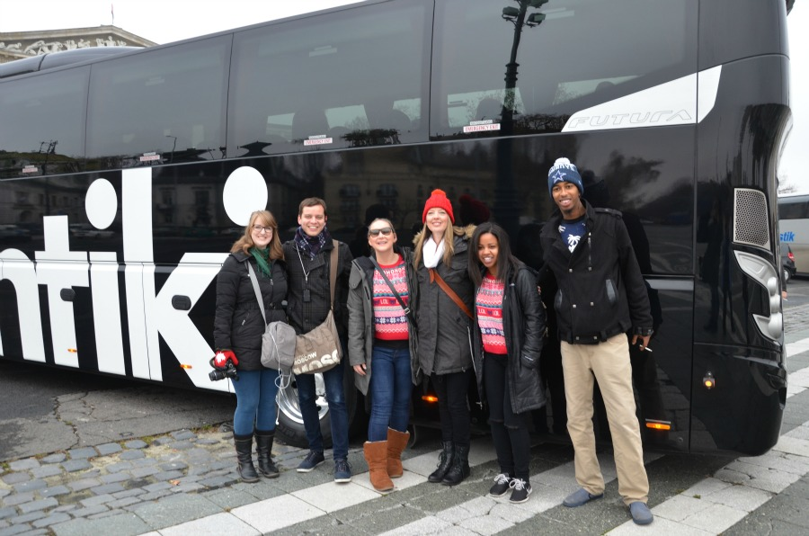 Canadian travel agents Kathryn Easson, Ian Kivell, Kate Berrisch, Contiki's Sheralyn Berry, and travel agents Paige Johnson and Hassan Hashi in front of the newest Contiki coach)