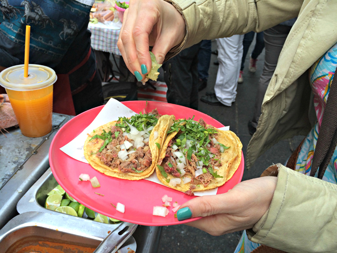Tacos for breakfast at one of Mexico City's street stalls