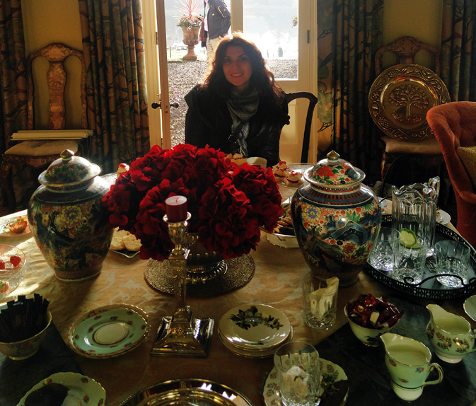 Elena enjoys the morning tea at Blessingbourne Country Estate