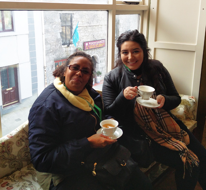 Kathy and Stephanie enjoying a cuppa at Cupán Tae in Galway