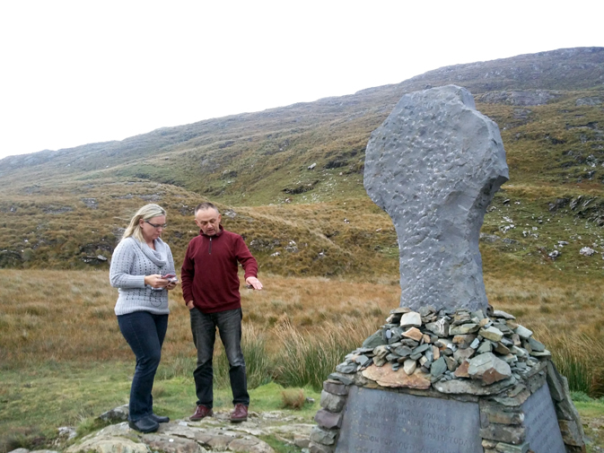 Helen learns the history of the famine from tour guide Tony (Heart of Burren Walks)