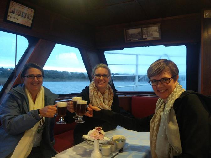 Patricia, Helen and Robin enjoy their Irish Coffee onboard the Corrib Princess