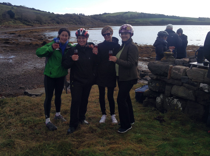 Debbie (on the right) enjoys a well earned malt wine break during a very scenic bike ride