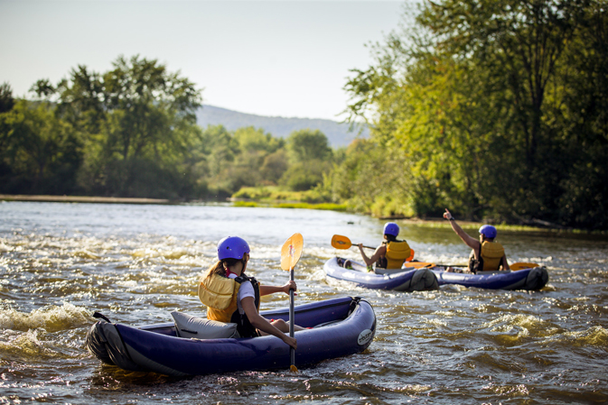 Kayakers on the Androscoggin River in New Hampshire