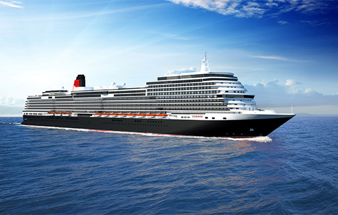 Cunard's 4th ship: 113,000 tons, 3,000 passengers