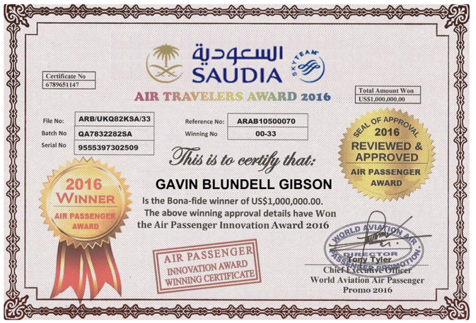 Example of a fraudulent prize certificate