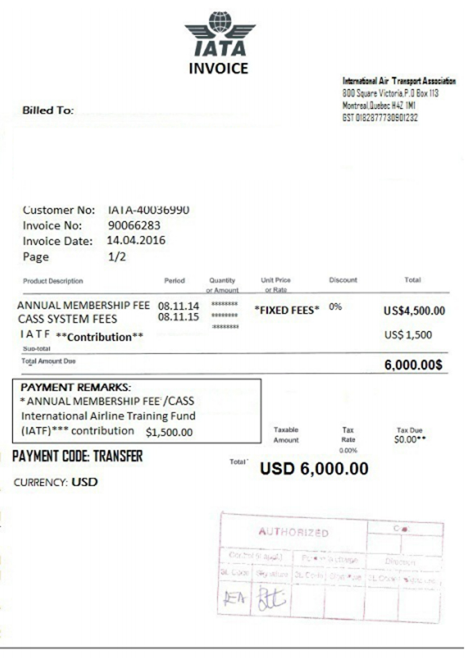 Examples of fraudulent invoices with false banking information