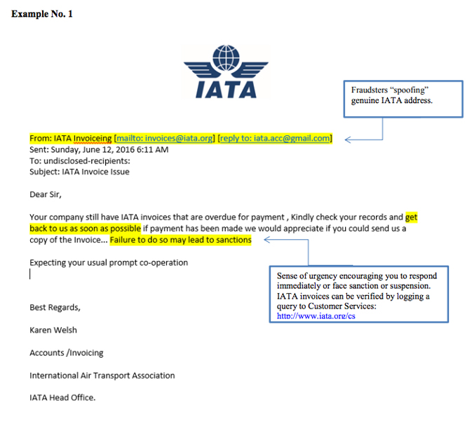 Example of fraudulent email