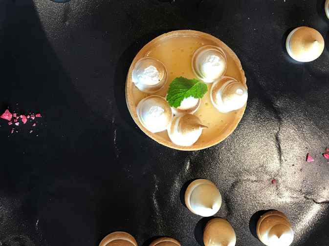 The Silver Muse offers nine dining venues, including three new to the Silversea fleet. Pictured here: a lemon meringue tart with fresh basil, edible flowers, edible gold and pink rosewater sugar crystals.
