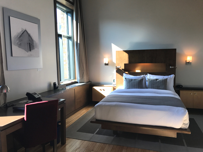 Hotel 71's 60 contemporary rooms and suites offer 14-foot-high ceilings, plenty of natural light and mattresses made by local company Matelas Confort.