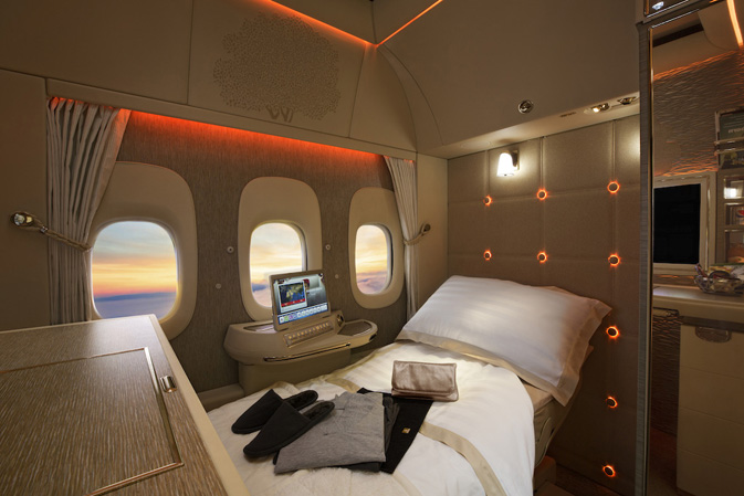 The new Boeing 777 First Class suite with virtual windows and an inspiration kit
