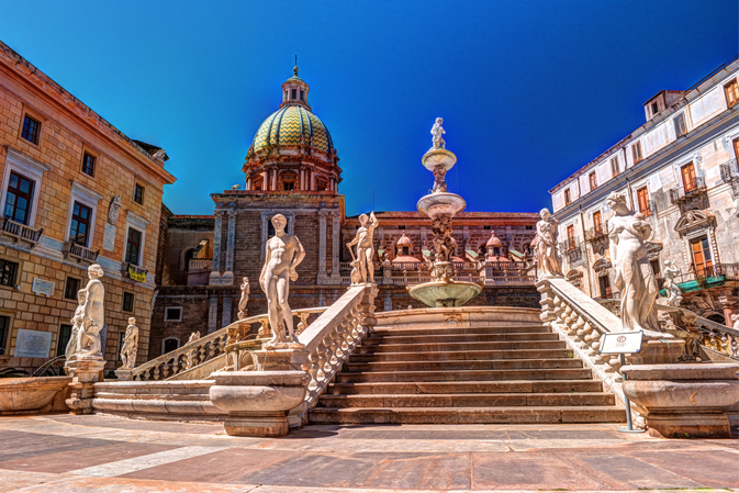 Famous fountain of shame on baroque Piazza Pretoria, Palermo