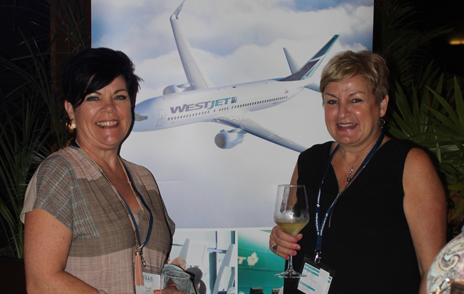 WestJet Travel Agent Advisory Board members Susan Doherty and Carolyn O¹Reilly at the welcome dinner at The Grand at Moon Palace