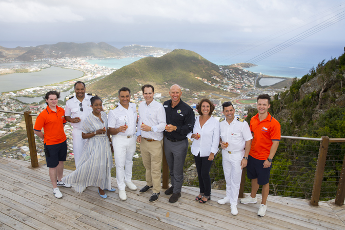 Representatives from Carnival Corporation, Carnival Cruise Line and Rockland Estate celebrated the grand opening of St. Maarten's newest attraction, featuring the world's steepest zipline.