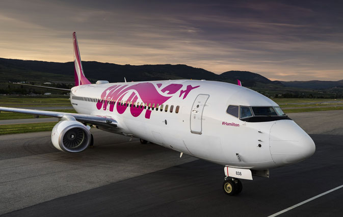 Swoop's bright magenta livery makes a splash with new pics, video