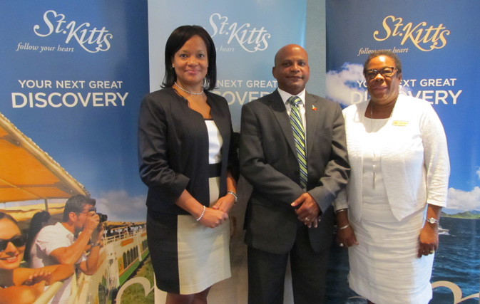 Racquel Brown, CEO St. Kitts Tourism Authority; Lindsay Grant, St. Kitts Minister of Tourism, International Trade, Industry and Commerce; and Carolyn James, Director Canada St. Kitts Tourism Authority, outlined a big increase in the number of rooms on the island at an event in Toronto.
