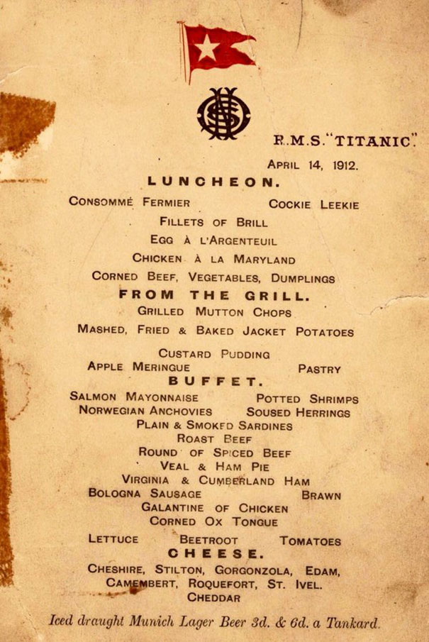 Grilled chops in 1st class, gruell in 3rd: These are Titanic's actual menus