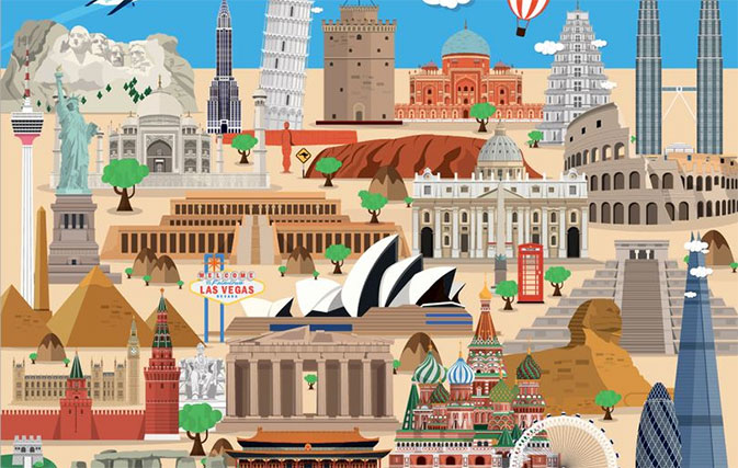 Can you identify all these global landmarks in this picture?