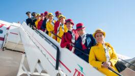 Flight crew and cabin crew onboard TAP's retro jet