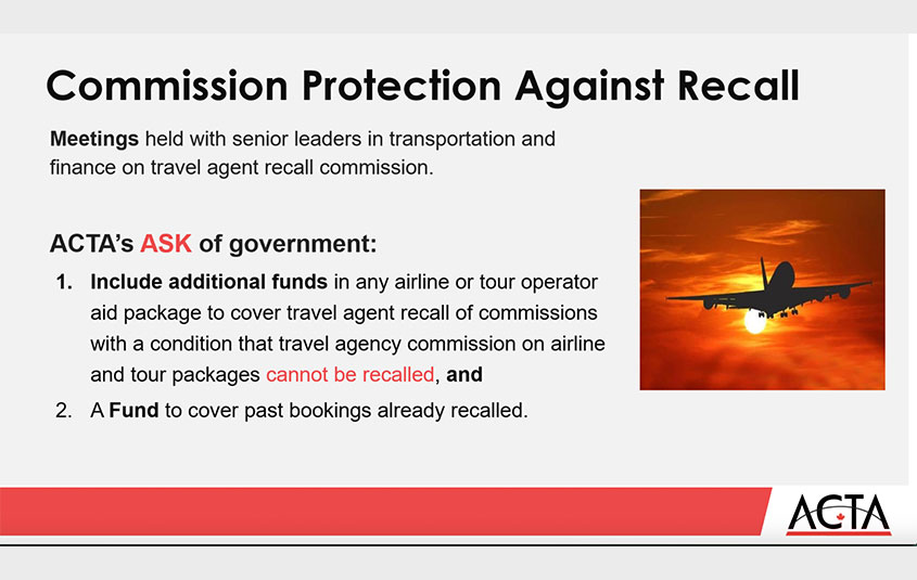Commission recall protection, financial aid extensions and an update from Air Canada's Lisa Pierce: ACTA webinar recap