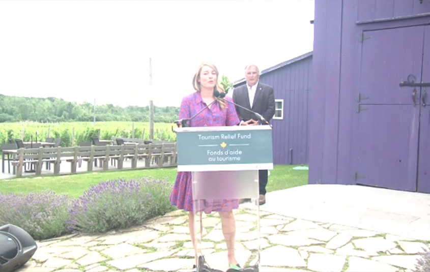 Mélanie Joly, Minister of Economic Development and Official Languages at Closson Chase Winery in Hillier, ON